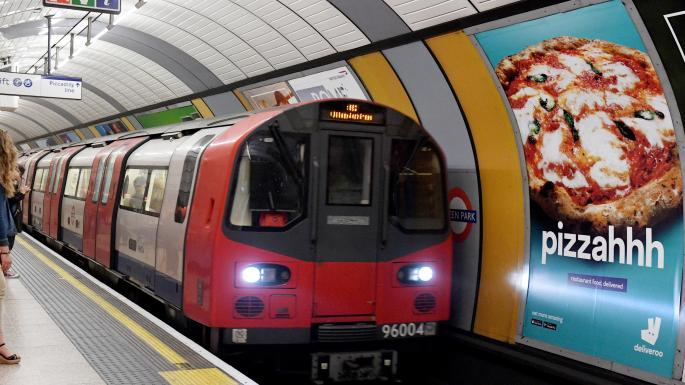 London tube train at stop