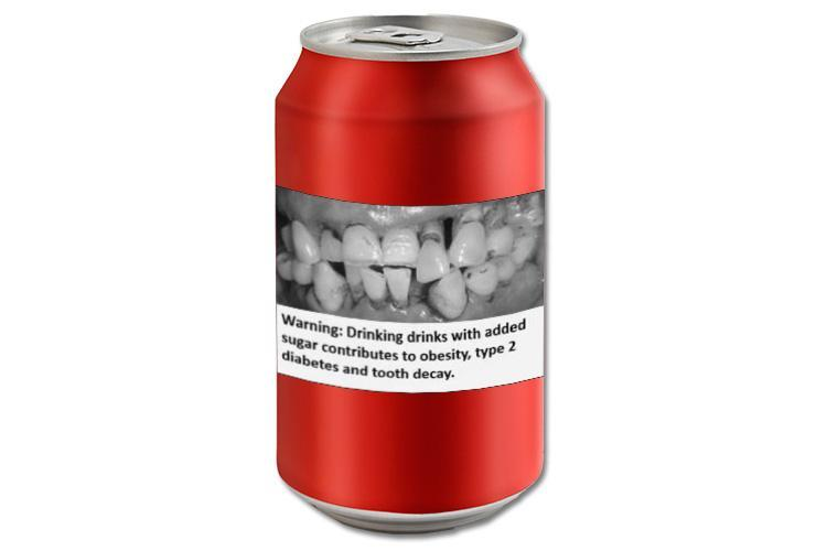 Cigarette style warning on fizzy drinks